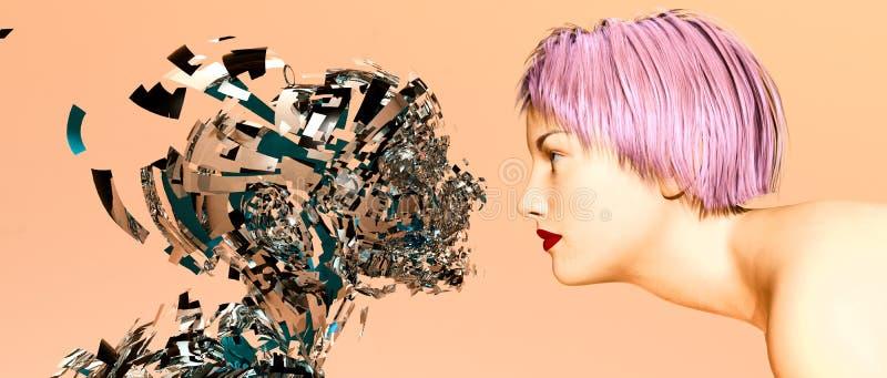 Mujer de la inteligencia artificial stock de ilustración