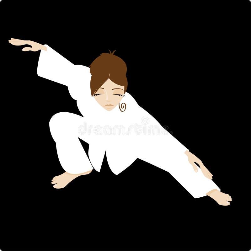 Mujer de la ji del Tai con el kimono blanco ilustración del vector