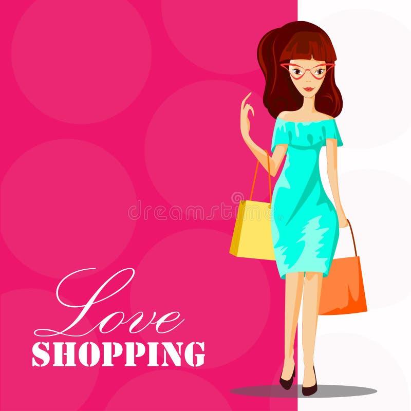 Mujer de la manera con el bolso de compras Plantilla de las compras del amor, personaje de dibujos animados de la muchacha de la  ilustración del vector