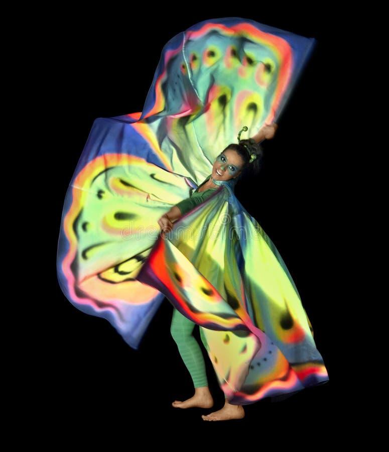 Mujer de la mariposa del baile imagenes de archivo