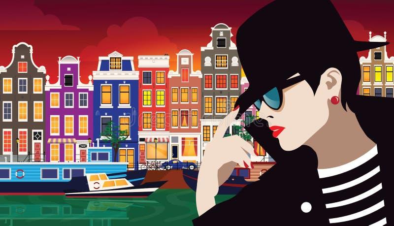 Mujer de la moda en arte pop del estilo La muchacha en la calle de Amsterdam libre illustration