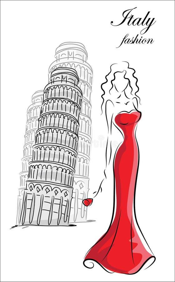 Mujer de la moda en Italia libre illustration