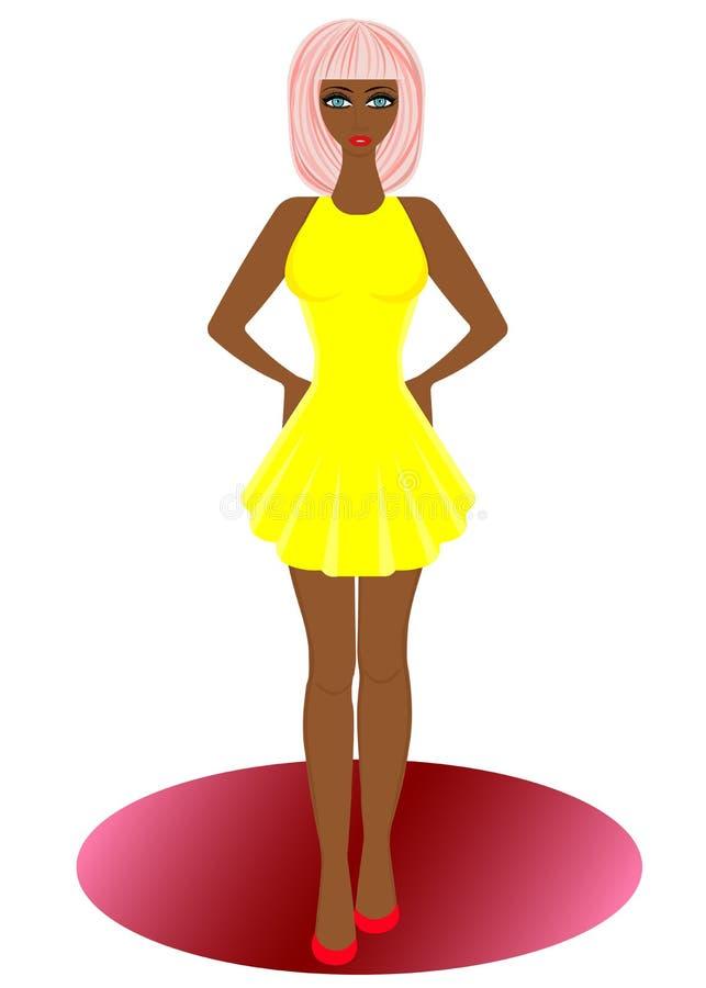 Mujer de la moda de la web Mujer elegante en vestido stock de ilustración