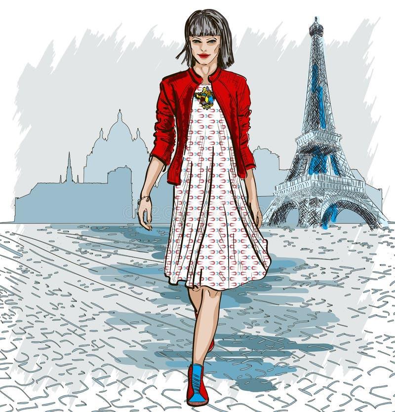 Mujer de la moda y horizonte de París ilustración del vector