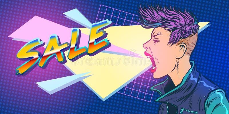 Mujer de la muchacha de la estación 80s de la venta stock de ilustración