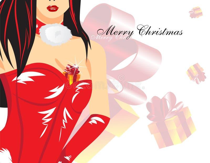 Mujer de la Navidad stock de ilustración
