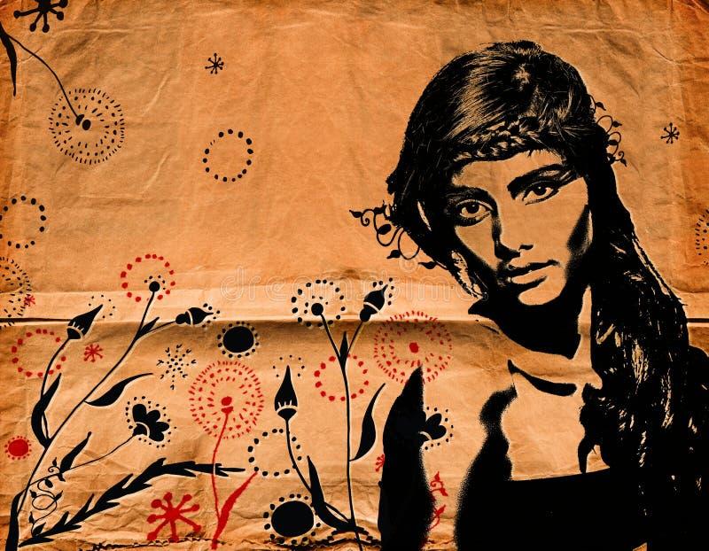 Mujer de la pintada en la pared stock de ilustración