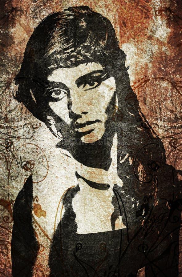 Mujer de la pintada en la pared libre illustration