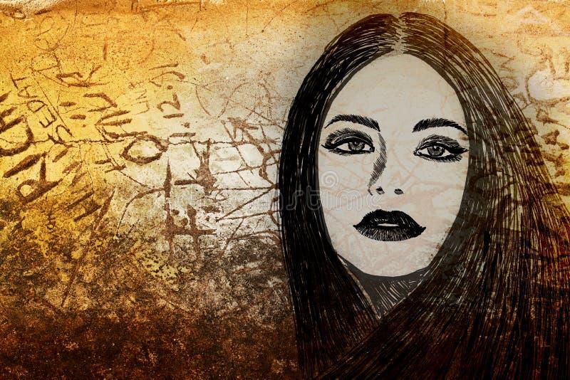 Mujer de la pintada en la pared ilustración del vector