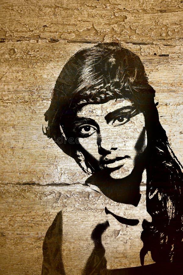 Mujer de la pintada en la pared de madera ilustración del vector