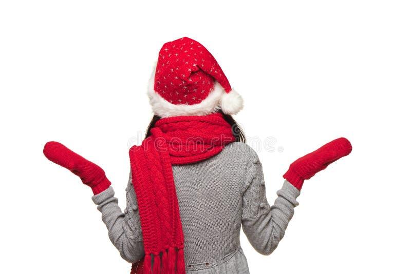 Mujer de la publicidad de Navidad foto de archivo