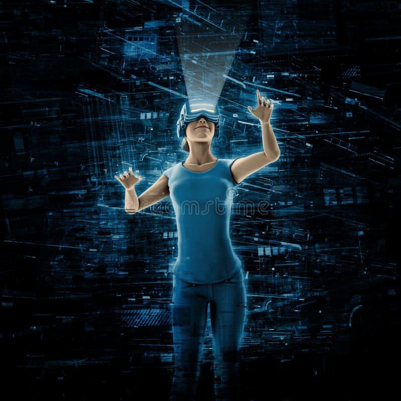 Mujer de la realidad virtual libre illustration