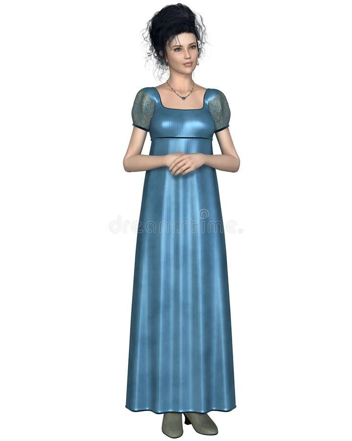 Mujer de la regencia en vestido azul stock de ilustración