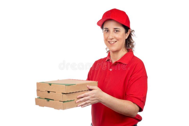 Mujer de la salida de la pizza imágenes de archivo libres de regalías
