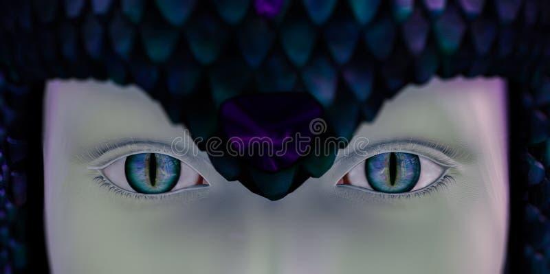 Mujer de la serpiente de los ojos stock de ilustración