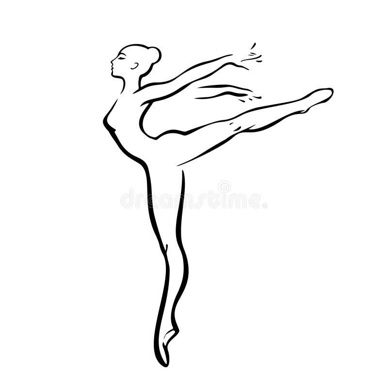 Mujer de la silueta danza Muestra del esquema de las bailarinas Ilustración stock de ilustración