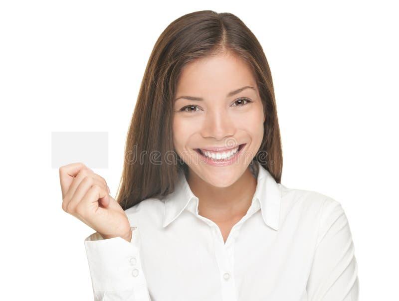 Mujer de la tarjeta de visita imagen de archivo libre de regalías