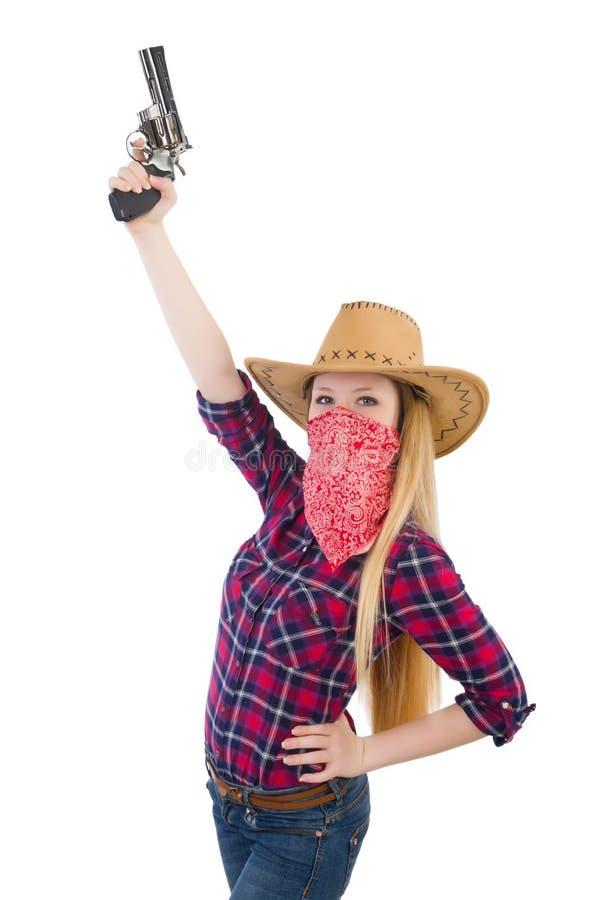 Mujer de la vaquera con el arma aislado fotos de archivo libres de regalías