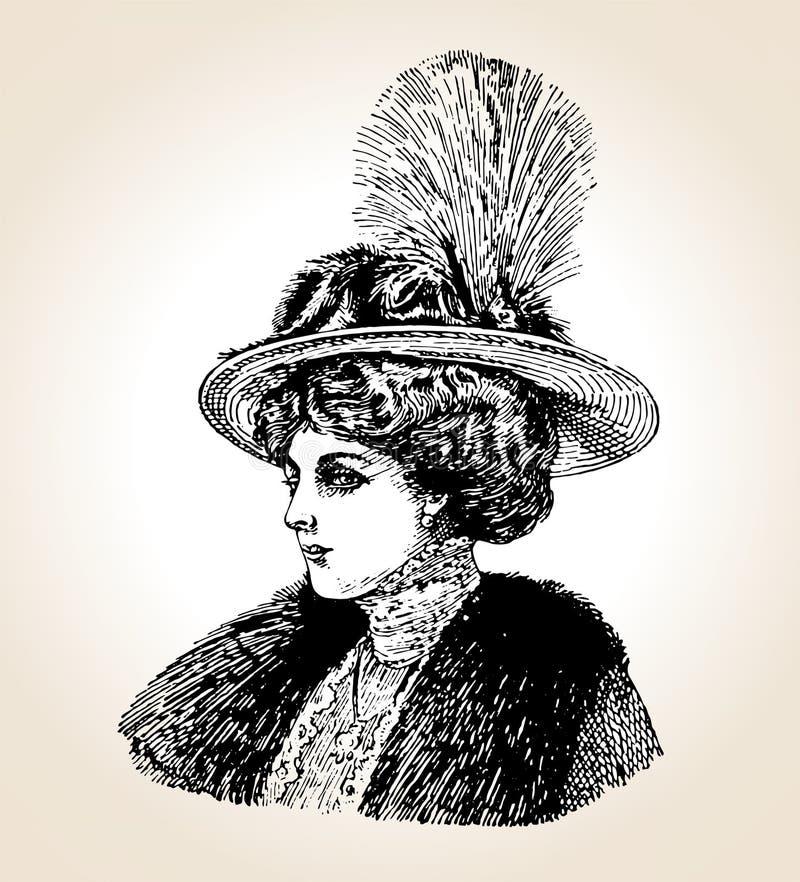 Mujer de la vendimia del vector stock de ilustración