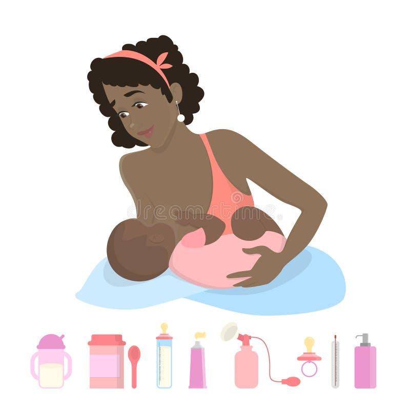 Mujer de lactancia aislada stock de ilustración