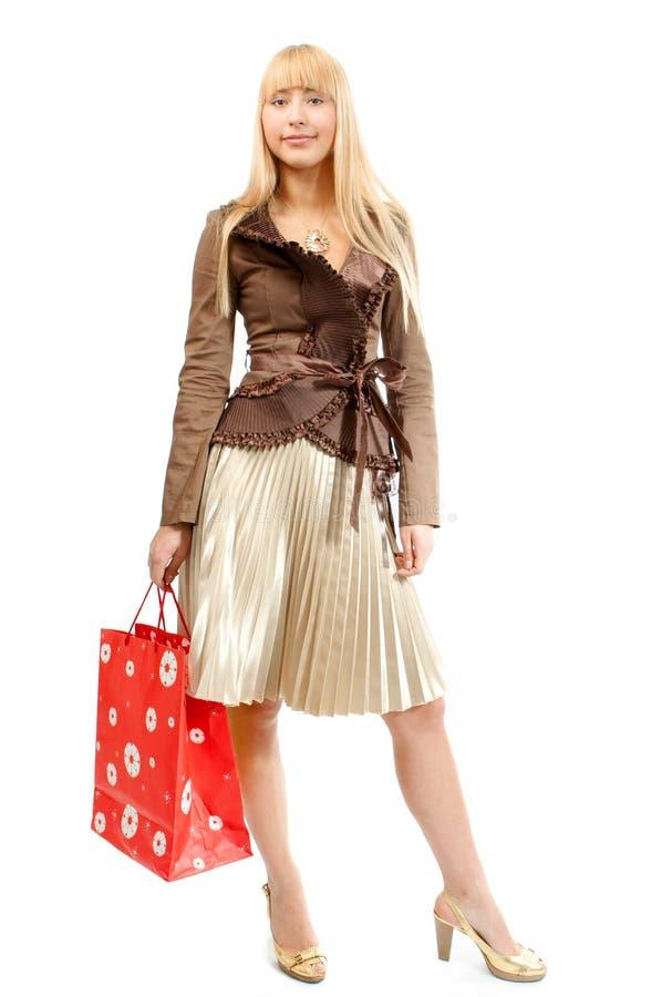Mujer de las compras con el bolso imagenes de archivo