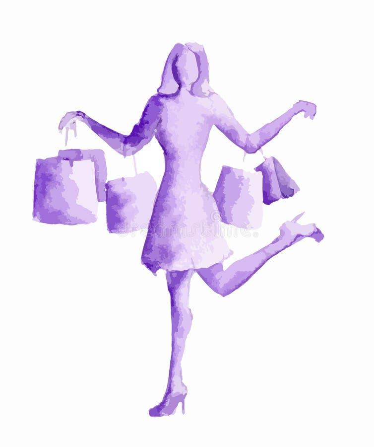 Mujer de las compras de la acuarela ilustración del vector