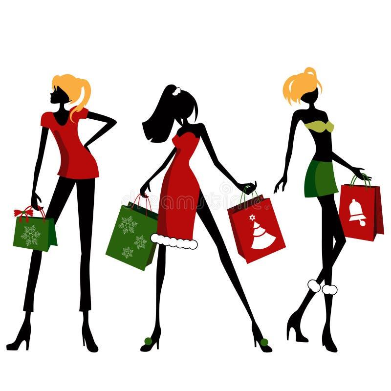 Mujer de las compras de la Navidad stock de ilustración