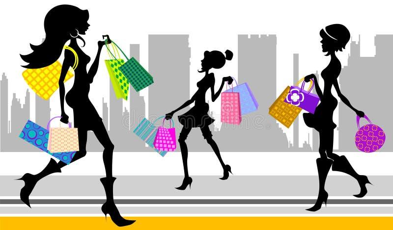 Mujer de las compras en la ciudad stock de ilustración