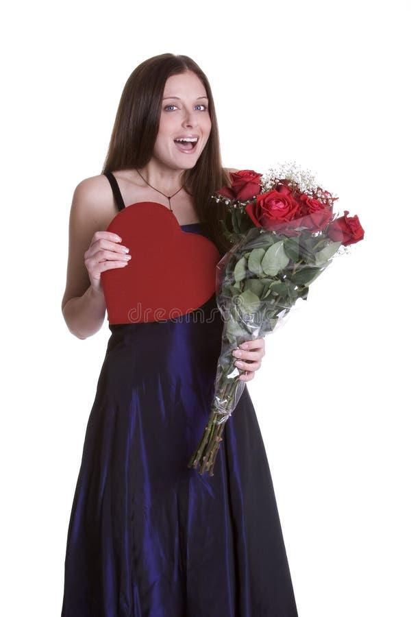 Mujer de las tarjetas del día de San Valentín fotografía de archivo libre de regalías