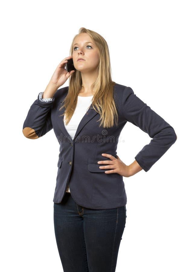 Mujer de llamada telefónica rubia fotografía de archivo