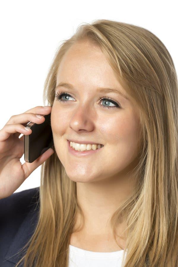 Mujer de llamada telefónica rubia imágenes de archivo libres de regalías