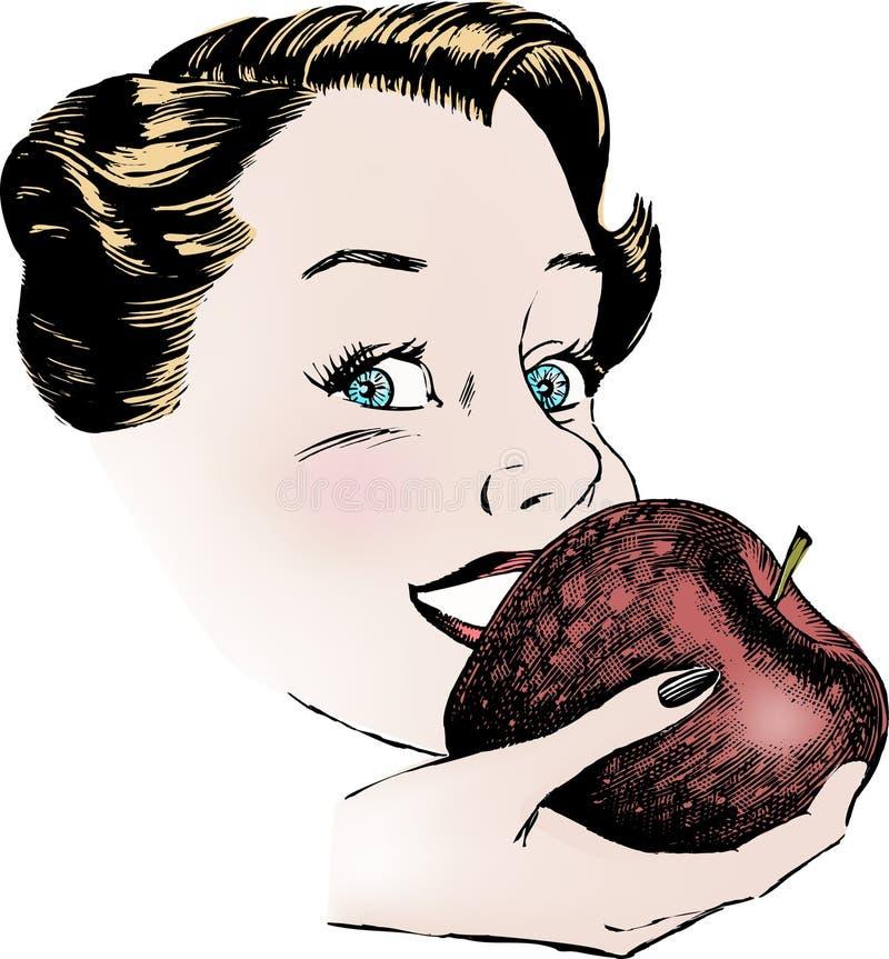 Mujer de los años 50 de la vendimia que come Apple ilustración del vector