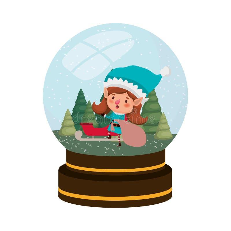 Mujer de los duendes con el chatacter del avatar de la bola de cristal del trineo libre illustration
