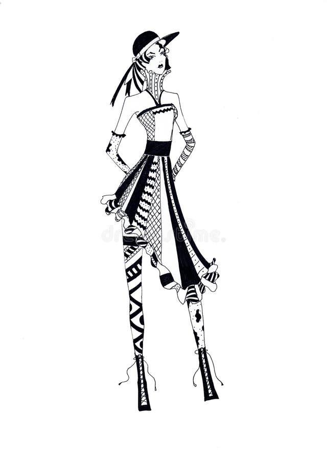 Mujer de los gráficos en un sombrero en estilo del boho ilustración del vector
