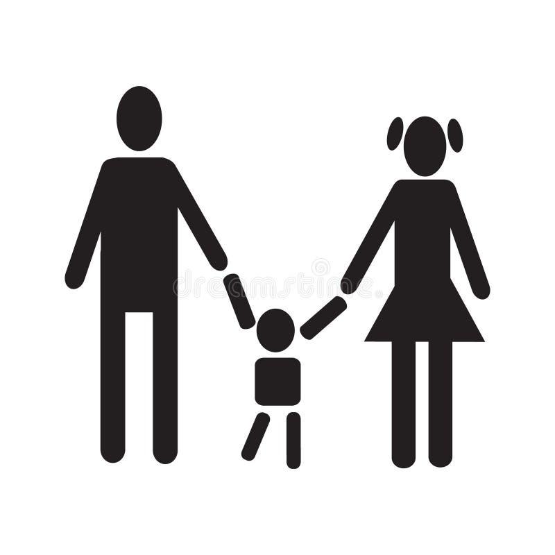 Mujer de los hombres que lleva a cabo la figura icono simple v determinado del bebé de la silueta del negro libre illustration