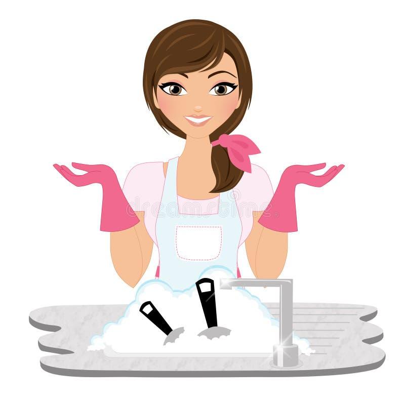 Mujer de los platos que se lava ilustración del vector