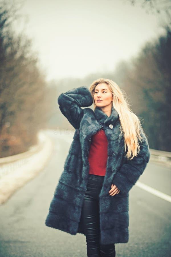Mujer de lujo con el pelo rubio largo Mujer atractiva en abrigo de pieles Viaje del viaje y de negocios o el caminar del tirón imagen de archivo libre de regalías