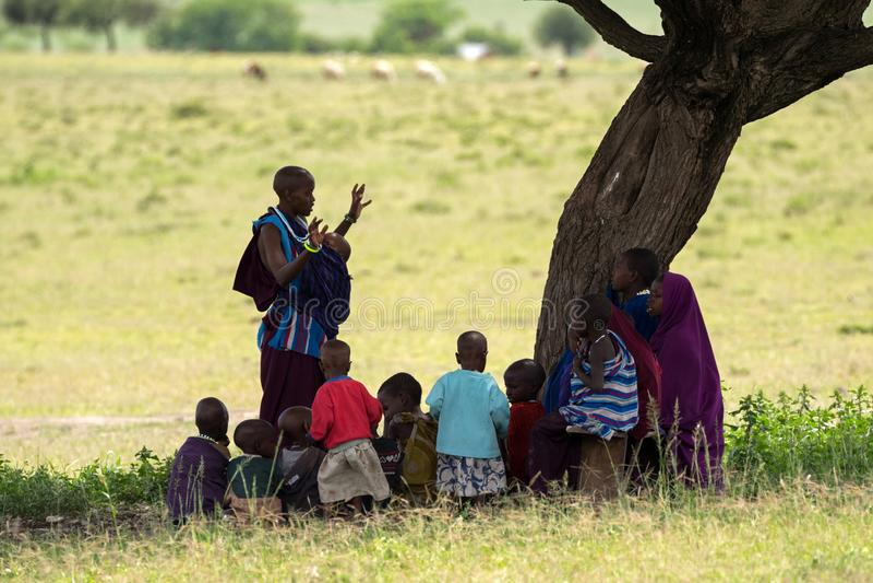 Mujer de Maasai, maestra que enseña a los niños africanos jovenes que se sientan en sombra del árbol inferior del acacia en Tanza imagen de archivo libre de regalías