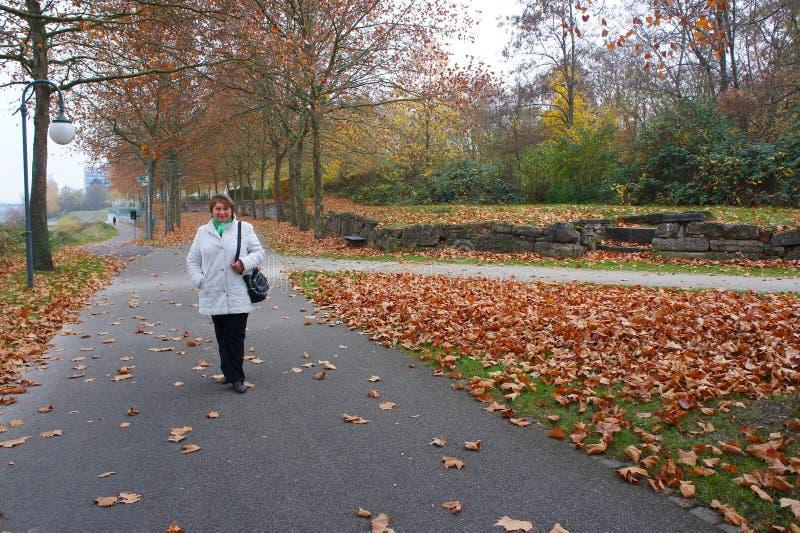 Mujer de mediana edad en parque del otoño imagen de archivo