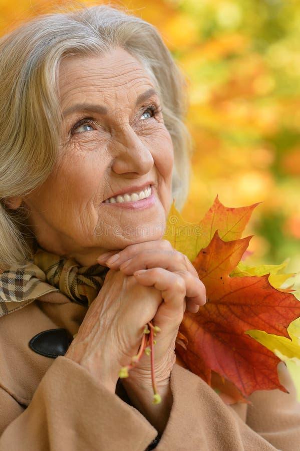 Mujer de mediana edad hermosa en el fondo de las hojas de otoño imagen de archivo libre de regalías