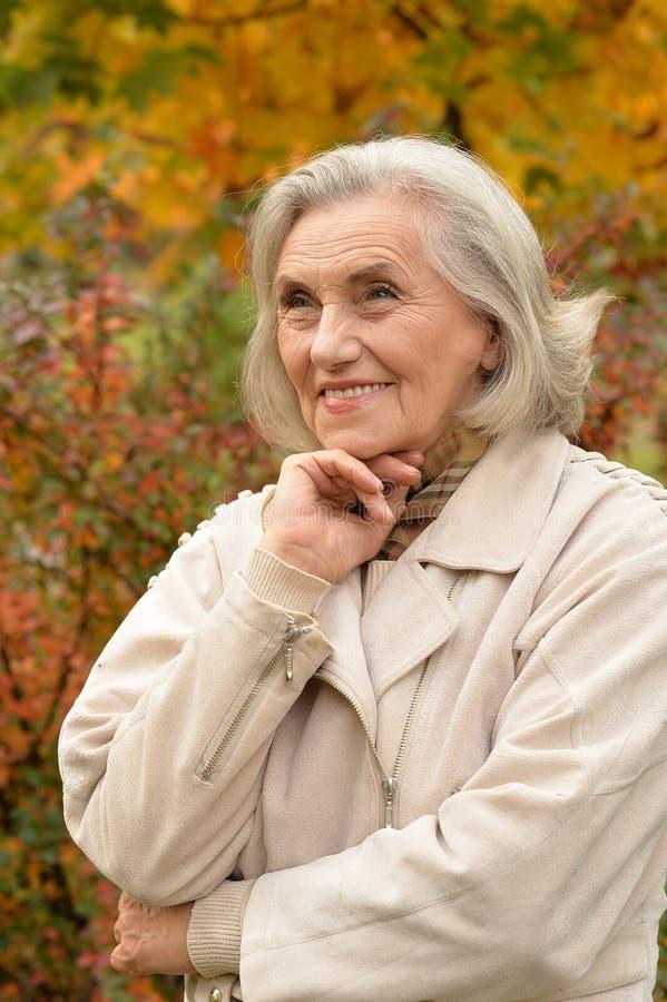 Mujer de mediana edad hermosa en el fondo de las hojas de otoño imagenes de archivo