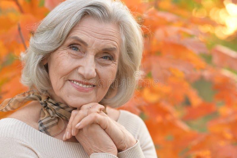 Mujer de mediana edad hermosa en el fondo de las hojas de otoño fotos de archivo libres de regalías