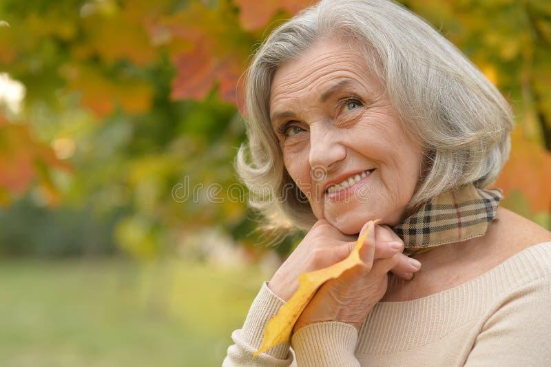 Mujer de mediana edad hermosa en el fondo de las hojas de otoño fotos de archivo