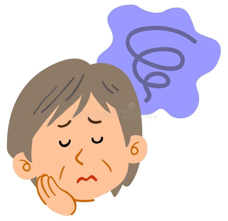 Mujer de mediana edad preocupante, ansioso, melancólica ilustración del vector