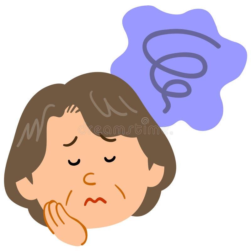 Mujer de mediana edad preocupante, ansioso, melancólica stock de ilustración