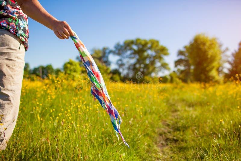 Mujer de mediana edad que camina en campo de la primavera en la puesta del sol entre las flores y que sostiene la bufanda que sac fotografía de archivo