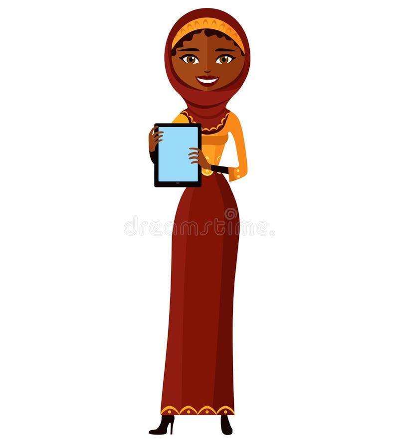 Mujer de negocios árabe de Egipto de los musulmanes que muestra algo en el ejemplo plano de la historieta del vector de la PC de  ilustración del vector