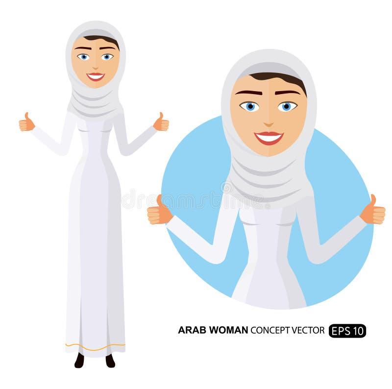 Mujer de negocios árabe feliz que muestra los pulgares encima del ejemplo plano de la historieta del vector libre illustration