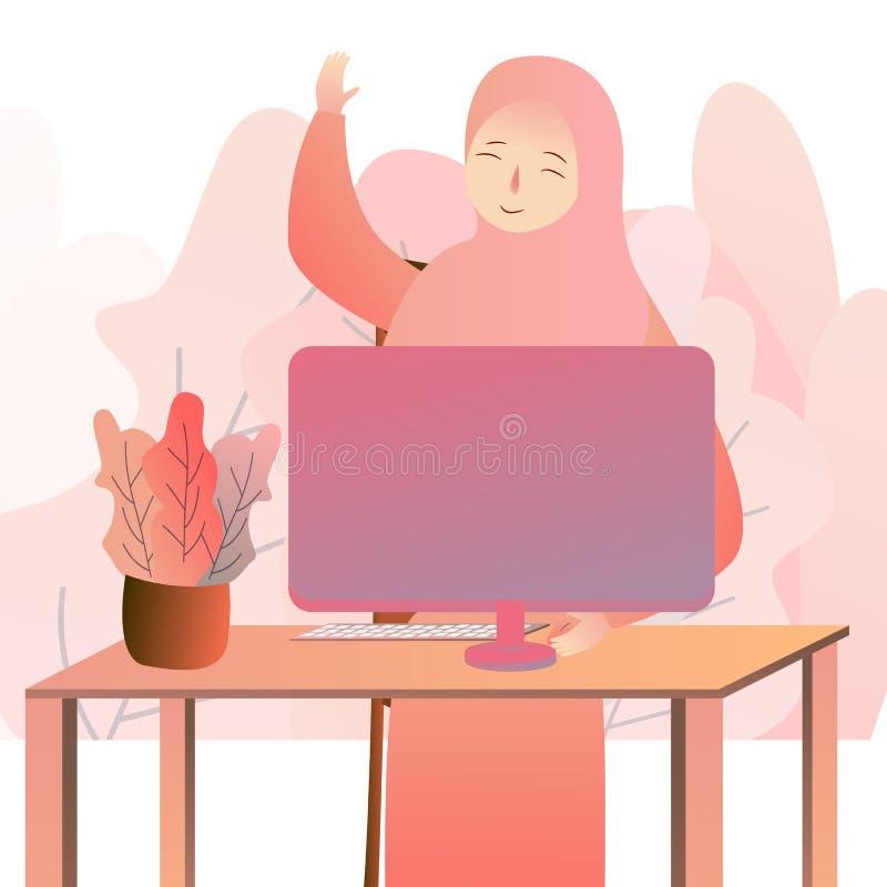 Mujer de negocios árabe hermosa que trabaja en el ordenador Mujer en su oficina, libre illustration