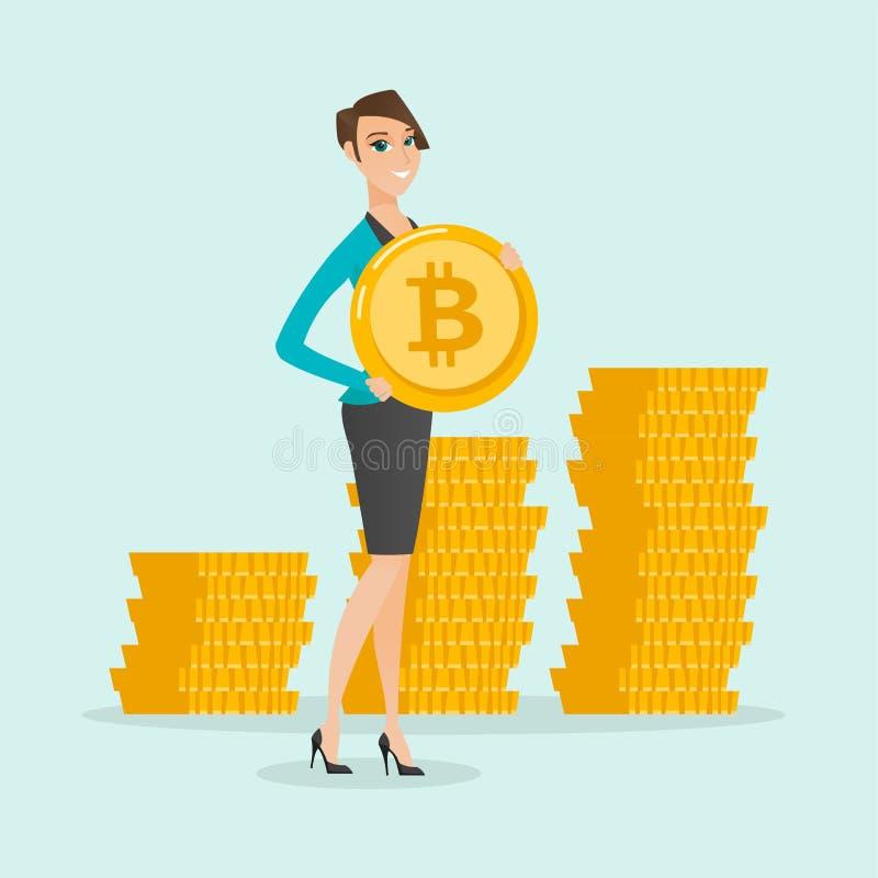 Mujer de negocios acertada joven con la moneda del bitcoin ilustración del vector